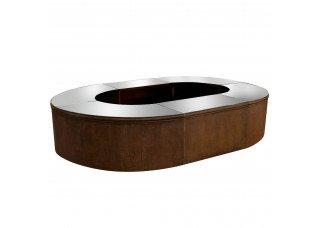 Bar Ferro Envelhecido Oval com Tampo Espelho