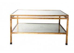 Mesa Centro Ouro com Tampo Espelho Envelhecido