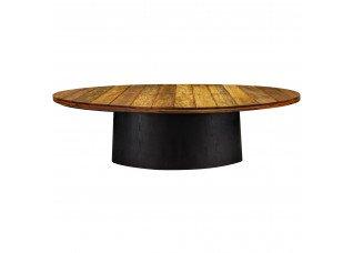 Mesa Design Oval com Tampo Madeira Demolição