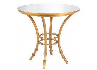Bistrô Baixa Base Bambu Ferro Dourado com Tampo Espelho
