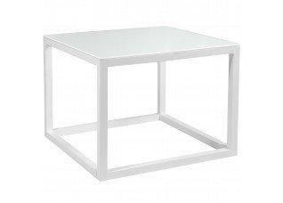 Base Cubo Vazado Branco com Tampo Vidro Branco