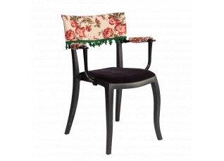 Cadeira Duomo com Braço com encosto floral e  pingente verde