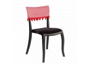 Cadeira Duomo sem Braço com encosto Zig Zag e pingente vermelho