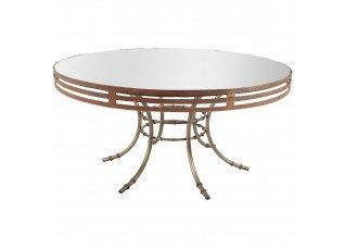 Tampo Redondo Espelho Bronze com Moldura Ferro Envelhecido e Base Bambu Ferro