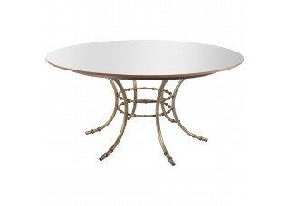 Tampo Redondo Espelho Bronze com Base Bambu Ferro 1,60 Diâmetro